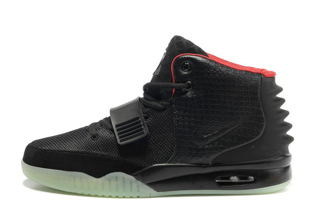 Wholesale Cheap Nike Air Yeezy 2 Black Solar Red Glow in the Dark For Sale - www.wholesaleflyknit.com