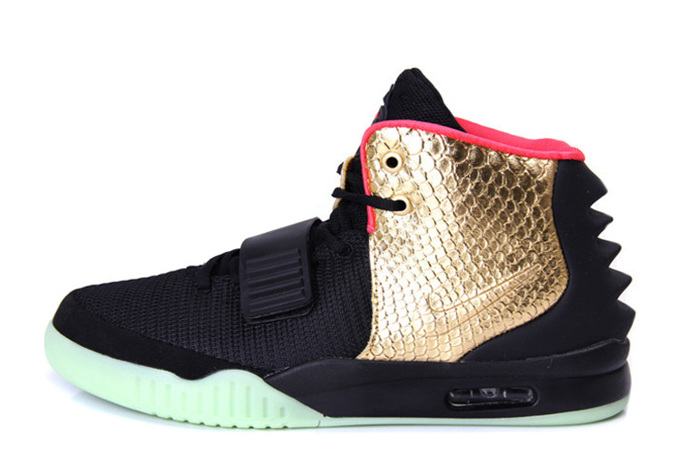 Wholesale Cheap Nike Air Yeezy 2 Imperial Black Gold Glow in the Dark For Sale - www.wholesaleflyknit.com