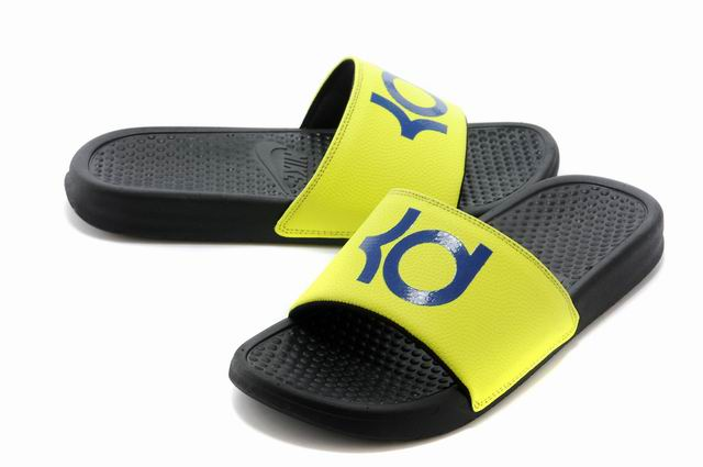 Wholesale Cheap Nike KD Black Yellow Blue Slippers For Sale - www.wholesaleflyknit.com
