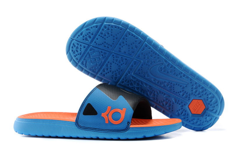 Wholesale Cheap Nike KD Slide Slippers Black Blue Orange For Sale - www.wholesaleflyknit.com