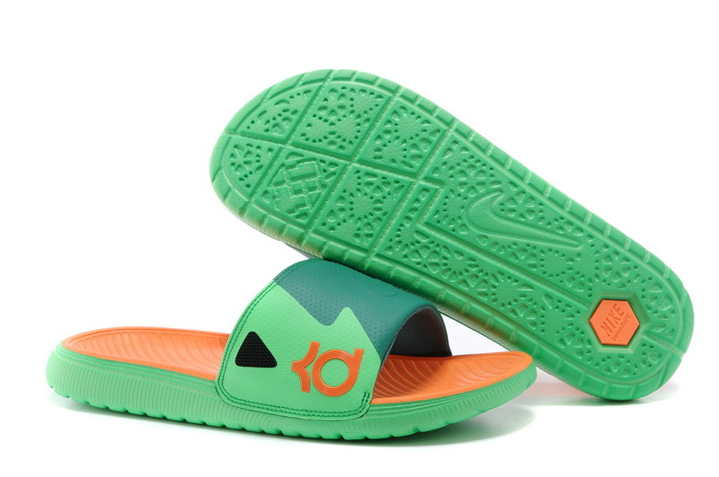Wholesale Cheap Nike KD Slide Slippers Green Orange For Sale - www.wholesaleflyknit.com