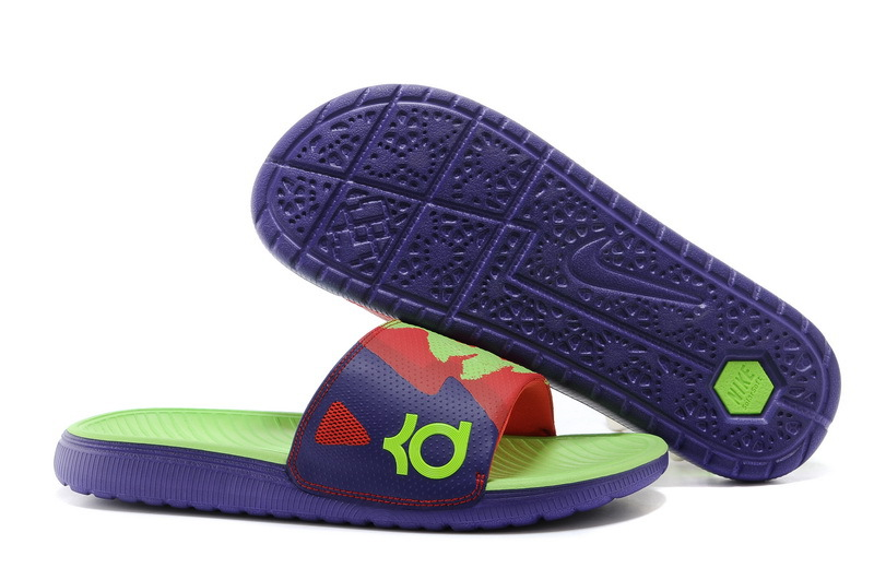 Wholesale Cheap Nike KD Solarsoft Slide Court Purple Electric Green-Light Crimson Slippers For Sale - www.wholesaleflyknit.com