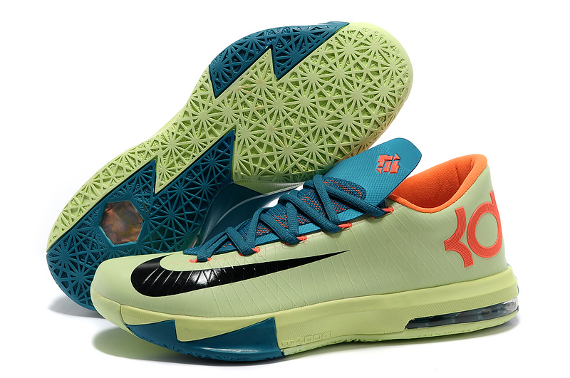 Wholesale Cheap Nike Kevin Durant KD 6 VI Aqua Green-Orange Teal-Navy For Sale - www.wholesaleflyknit.com