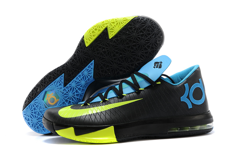 Wholesale Cheap Nike Kevin Durant KD 6 VI Away II Black Volt-Vivid Blue-Dark Grey For Sale - www.wholesaleflyknit.com