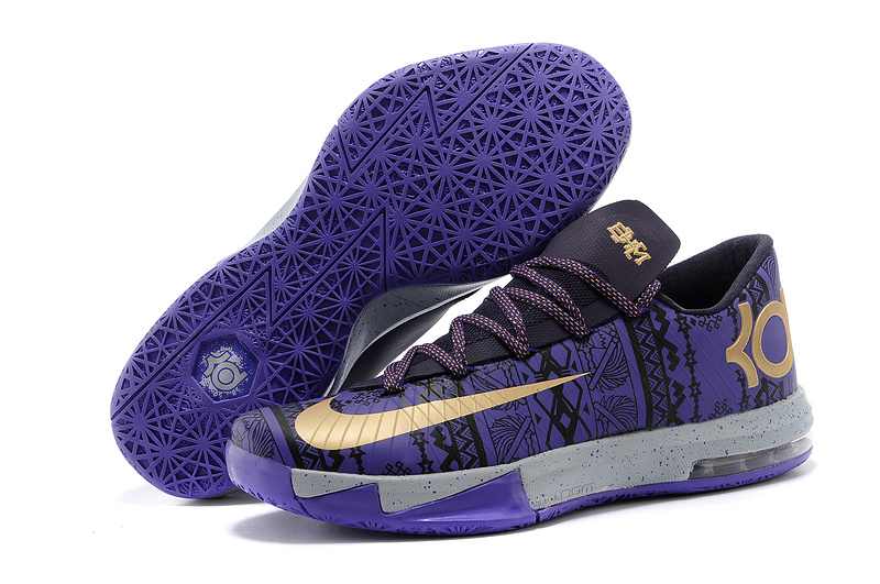 Wholesale Cheap Nike Kevin Durant KD 6 VI BHM Purple Venom Metallic Gold-Purple Dynasty For Sale - www.wholesaleflyknit.com