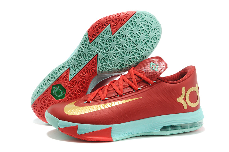 Wholesale Cheap Nike Kevin Durant KD 6 VI Christmas Light Crimson Metallic Gold-Green Glow For Sale - www.wholesaleflyknit.com