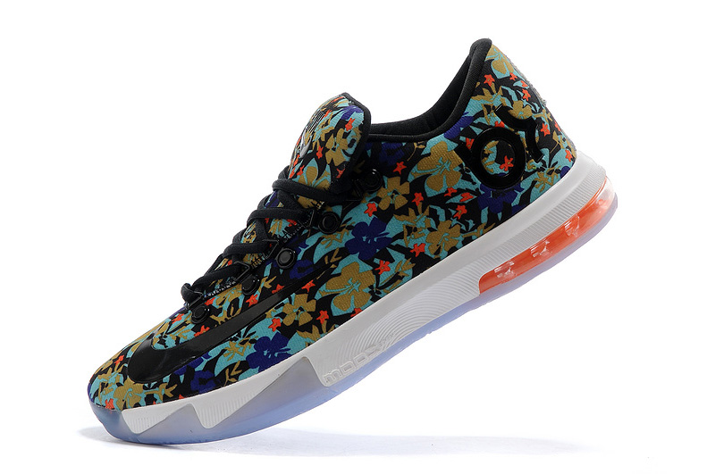 Wholesale Cheap Nike Kevin Durant KD 6 VI EXT QS Floral Multi-Color Black For Sale - www.wholesaleflyknit.com