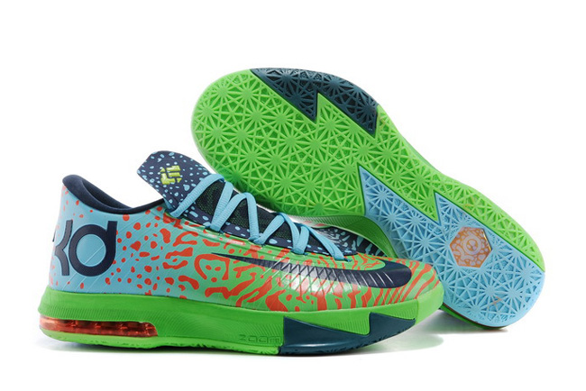 Wholesale Cheap Nike Kevin Durant KD 6 VI Liger Electric Green Night Factor-Atomic Orange For Sale - www.wholesaleflyknit.com
