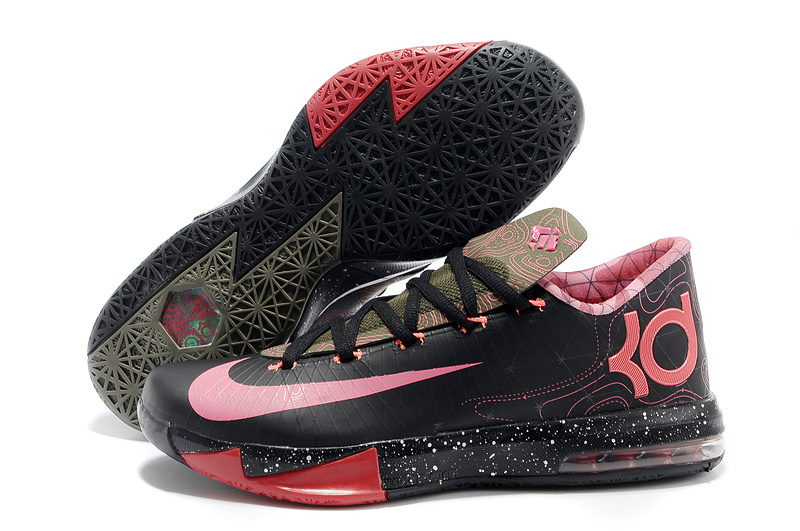 Wholesale Cheap Nike Kevin Durant KD 6 VI Meteorology Black Atomic Red-Medium Olive-Noble Red For Sale - www.wholesaleflyknit.com