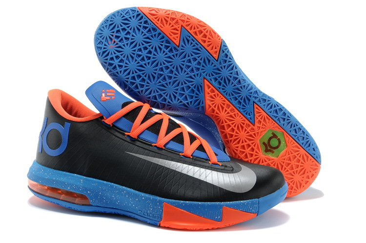 Wholesale Cheap Nike Kevin Durant KD 6 VI OKC Away Black Metallic Silver-Team Orange-Photo Blue For Sale - www.wholesaleflyknit.com