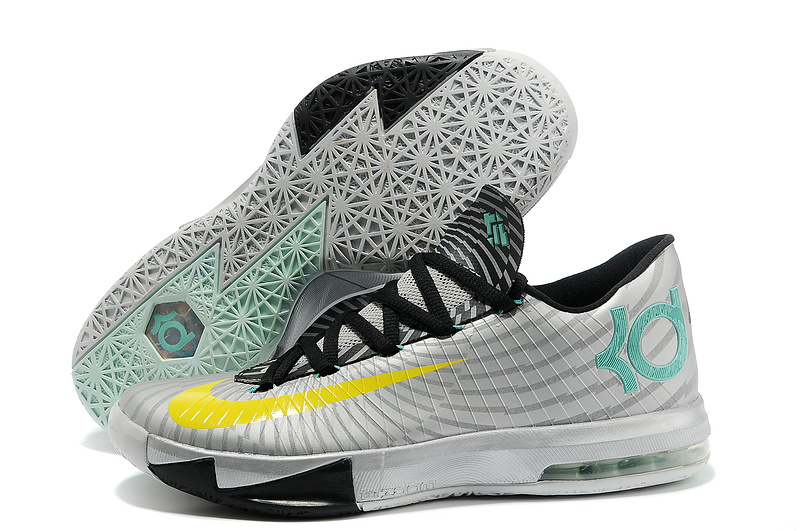 Wholesale Cheap Nike Kevin Durant KD 6 VI Precision Timing Metallic Silver Yellow-Black-Arctic Green - www.wholesaleflyknit.com