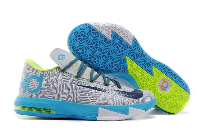 Wholesale Cheap Nike Kevin Durant KD 6 VI Pure Platinum Night Factor-Vivid Blue-Volt For Sale - www.wholesaleflyknit.com