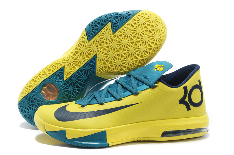 Wholesale Cheap Nike Kevin Durant KD 6 VI Seat Pleasant Yellow Teal For Sale - www.wholesaleflyknit.com