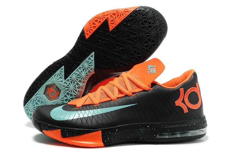 Wholesale Cheap Nike Kevin Durant KD 6 VI Texas Black Green Glow-Urban Orange For Sale - www.wholesaleflyknit.com