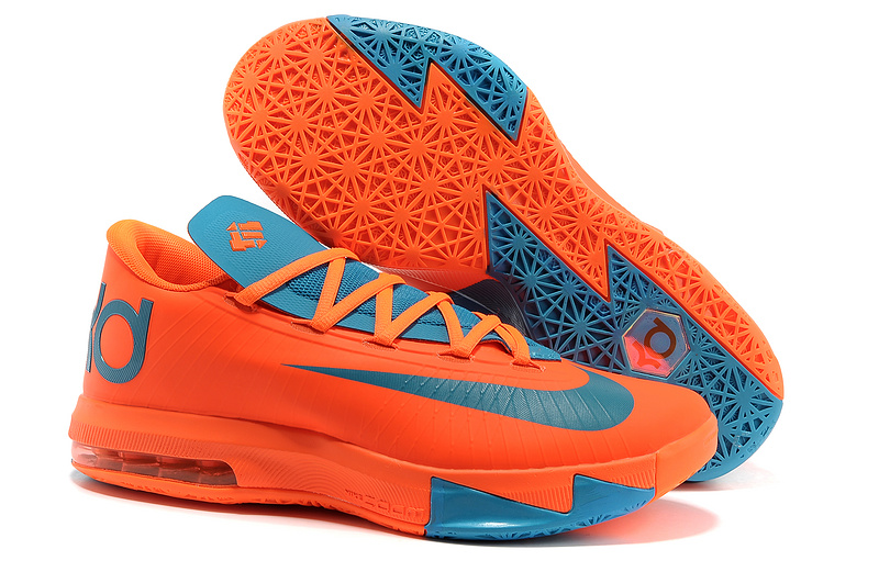 Wholesale Cheap Nike Kevin Durant KD 6 VI Total Orange Neo Turquoise For Sale - www.wholesaleflyknit.com