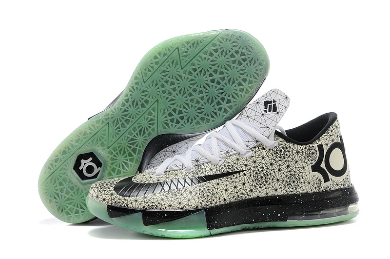 Wholesale Cheap Nike Kevin Durant KD 6 VI White Pattern-Black Green Glow For Sale - www.wholesaleflyknit.com