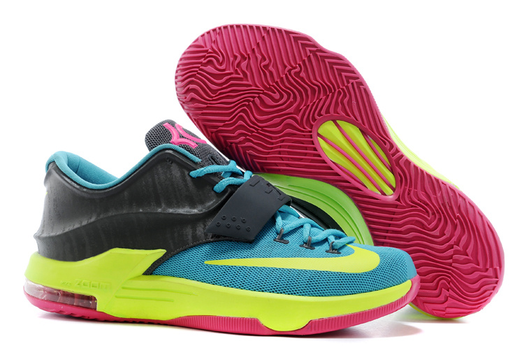 Wholesale Cheap Nike Kevin Durant KD 7 VII Carnival Hyper Jade Volt-Hyper Pink-Dark Base Grey For Sale - www.wholesaleflyknit.com