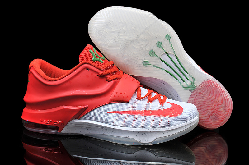 Wholesale Cheap Nike Kevin Durant KD 7 VII Christmas Egg Nog White Red For Sale Online - www.wholesaleflyknit.com