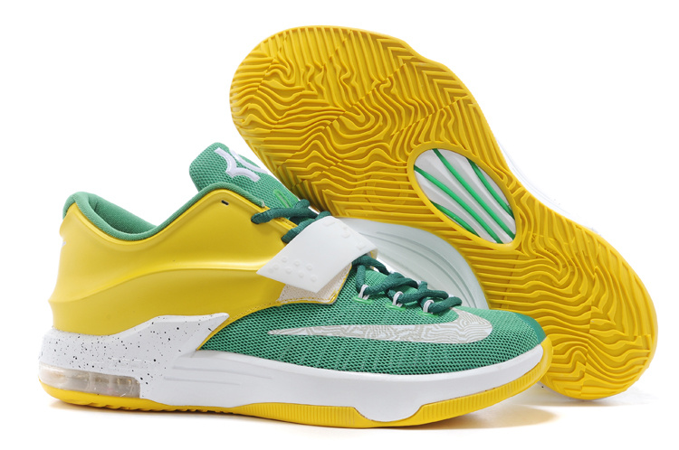 Wholesale Cheap Nike Kevin Durant KD 7 VII Draft Day Apple Green Yellow Strike-White For Sale - www.wholesaleflyknit.com