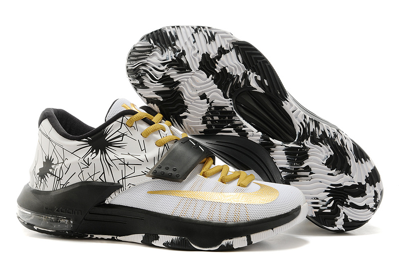 Wholesale Cheap Nike Kevin Durant KD 7 VII Patterns White-Black Metallic Gold For Sale - www.wholesaleflyknit.com