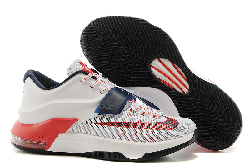 Wholesale Cheap Nike Kevin Durant KD 7 VII USA White Obsidian-University Red For Sale - www.wholesaleflyknit.com
