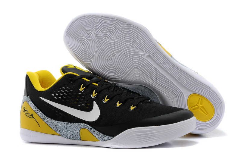 Wholesale Cheap Nike Kobe 9 EM Away Black-Yellow Elephant Print Grey For Sale - www.wholesaleflyknit.com