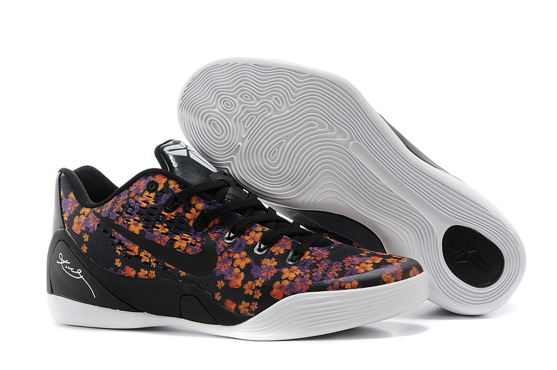 Wholesale Cheap Nike Kobe 9 EM Floral Black-Court Purple Tour Yellow For Sale - www.wholesaleflyknit.com