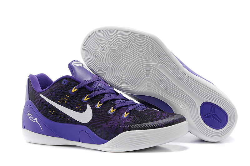 Wholesale Cheap Nike Kobe 9 Low EM Black Court Purple-White For Sale - www.wholesaleflyknit.com
