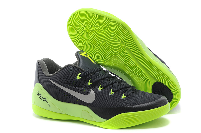 Wholesale Cheap Nike Kobe 9 Low EM Black Neon Green-Grey For Sale Online - www.wholesaleflyknit.com