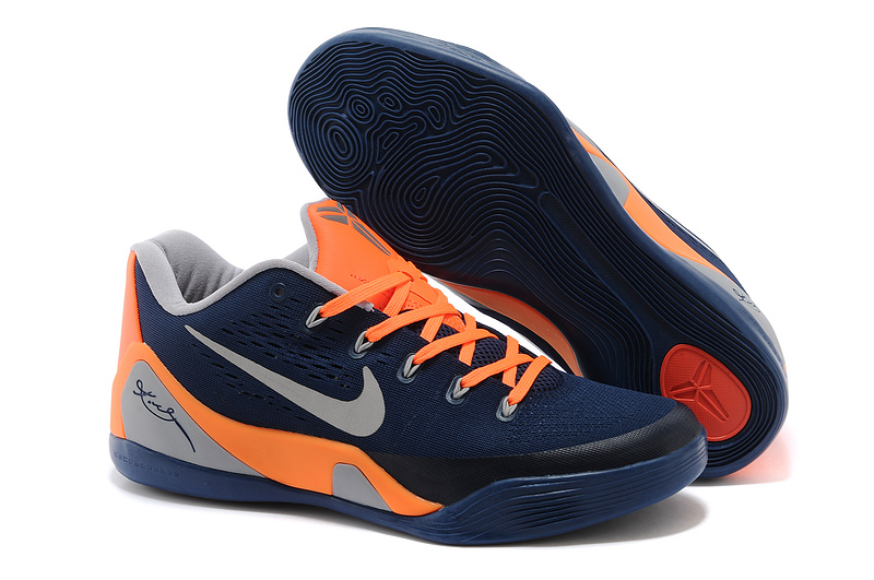 Wholesale Cheap Nike Kobe 9 Low EM Dark Blue Orange-Grey For Sale - www.wholesaleflyknit.com