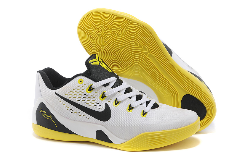 Wholesale Cheap Nike Kobe 9 Low EM White Black Yellow For Sale - www.wholesaleflyknit.com