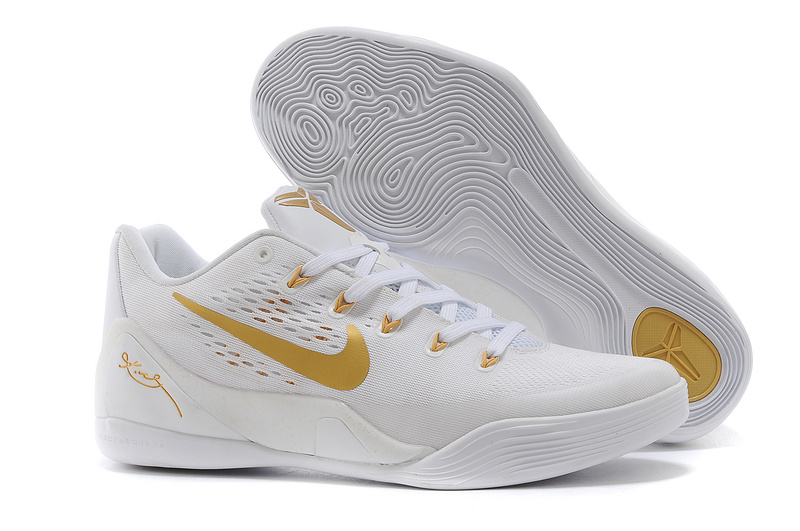 Wholesale Cheap Nike Kobe 9 Low EM White Gold For Sale - www.wholesaleflyknit.com