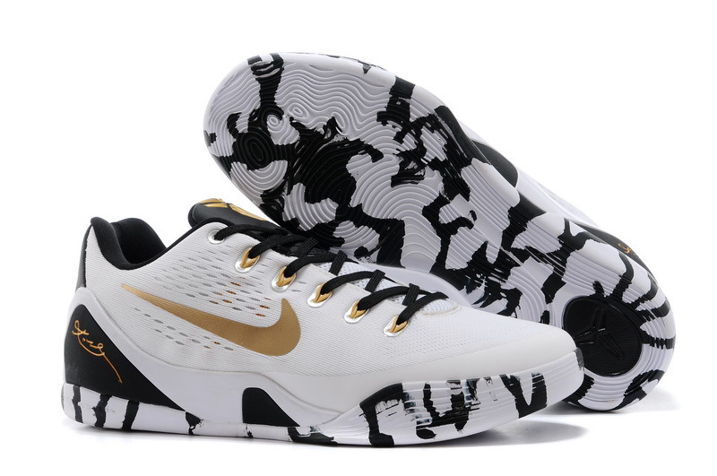 Wholesale Cheap Nike Kobe 9 Low EM XDR White Black Gold For Sale - www.wholesaleflyknit.com