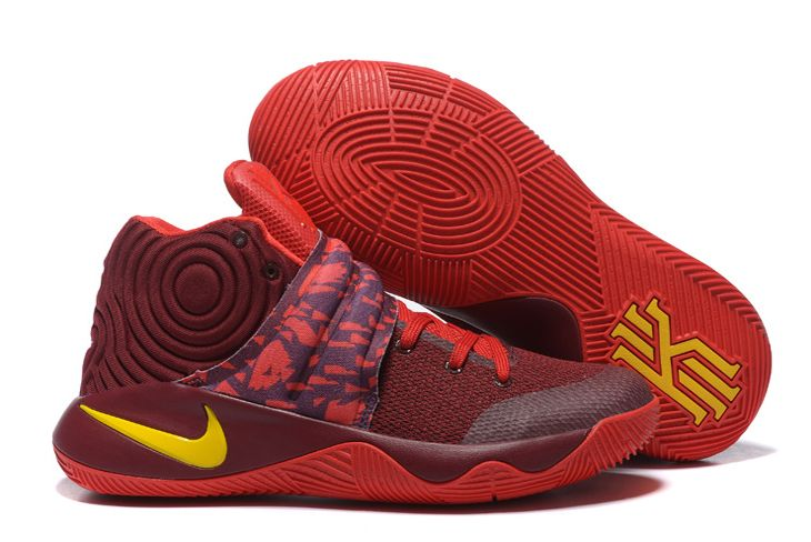 Wholesale Cheap Nike Kyrie 2 Cavs PE Wine Red Yellow - www.wholesaleflyknit.com