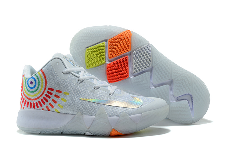 8bde396fe724 Wholesale Cheap Nike Kyrie 4 Iridescent Swoosh Pure Platinum  Multicolor-Volt For Sale - www