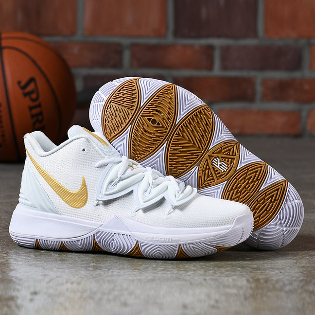 Wholesale Nike Kyrie 5 AQ2456-170 Irish White Metallic Gold-Pure Platinum-www.wholesaleflyknit.com