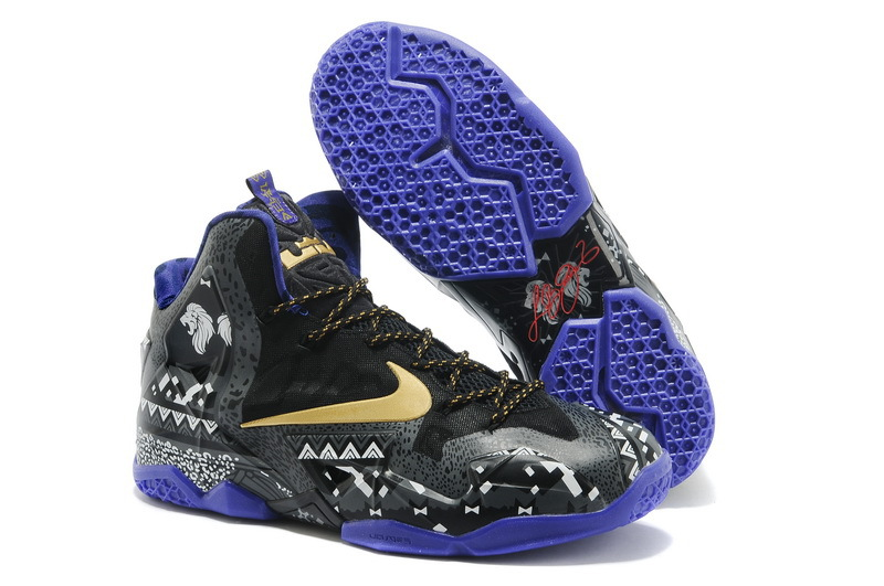 Wholesale Cheap Nike LeBron 11 BHM Anthracite Metallic Gold-Purple Venom For Sale - www.wholesaleflyknit.com