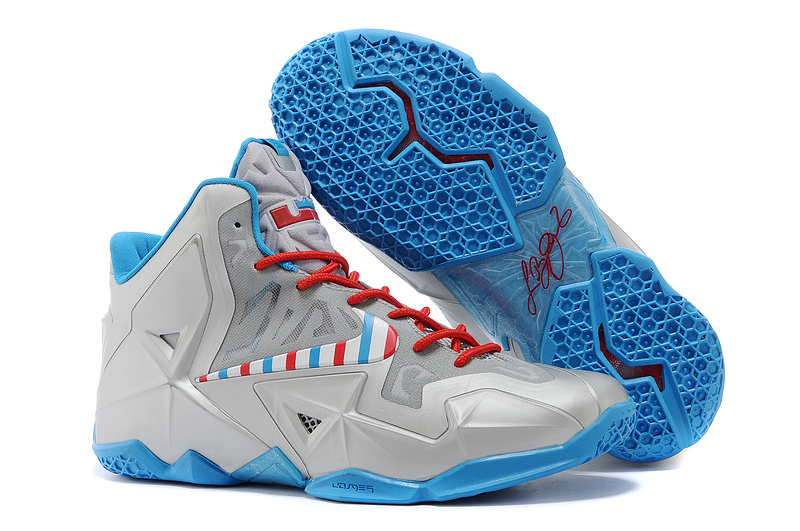 Wholesale Cheap Nike LeBron 11 Barber Metallic Silver White-Turquoise Blue-Laser Crimson - www.wholesaleflyknit.com