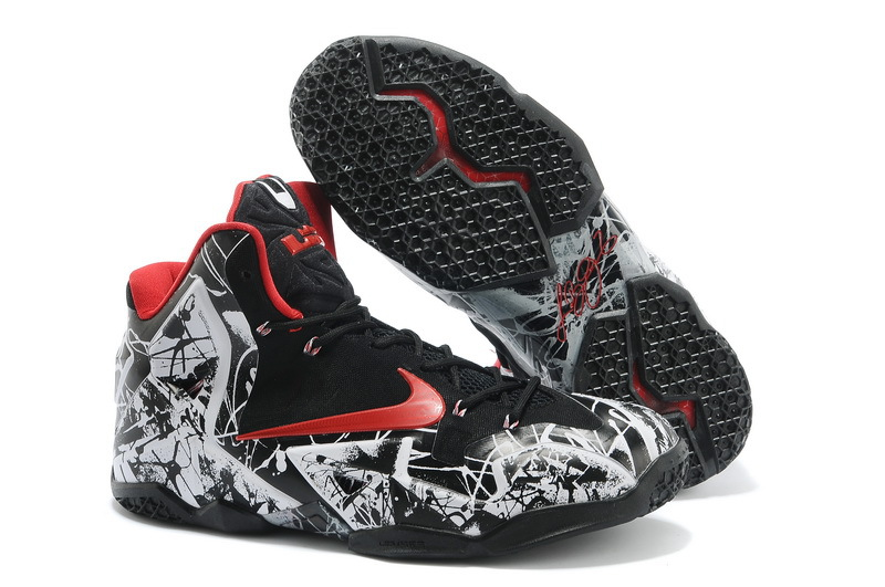 Wholesale Cheap Nike LeBron 11 Graffiti White University Red-Black For Sale - www.wholesaleflyknit.com