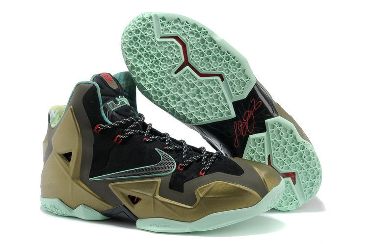 Wholesale Cheap Nike LeBron 11 Kings Pride Parachute Gold Arctic Green-Dark Loden-Black-University Red - www.wholesaleflyknit.com