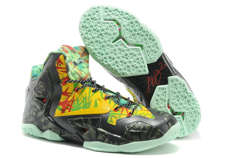 Wholesale Cheap Nike LeBron 11 Kings Ring Black-Yellow Red Maple For Sale - www.wholesaleflyknit.com