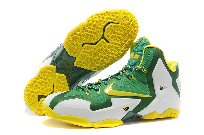Wholesale Cheap Nike LeBron 11 Oregon Ducks PE White-Pine Green Tour Yellow For Sale - www.wholesaleflyknit.com