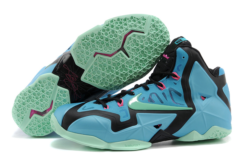 Wholesale Cheap Nike LeBron 11 South Beach Turquoise Black-Pink-Mint For Sale - www.wholesaleflyknit.com