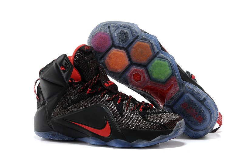 Wholesale Cheap Nike LeBron 12 Black Red For Sale - www.wholesaleflyknit.com