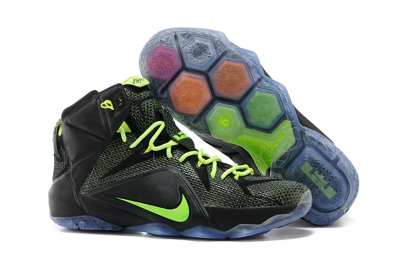 Wholesale Cheap Nike LeBron 12 Black-Volt For Sale Online - www.wholesaleflyknit.com