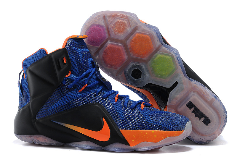 Wholesale Cheap Nike LeBron 12 Hyper Blue Black-Orange For Sale - www.wholesaleflyknit.com