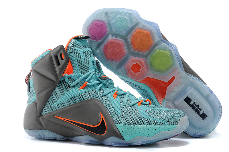 Wholesale Cheap Nike LeBron 12 Miami Dolphins Turquoise Grey-Crimson-Black For Sale - www.wholesaleflyknit.com