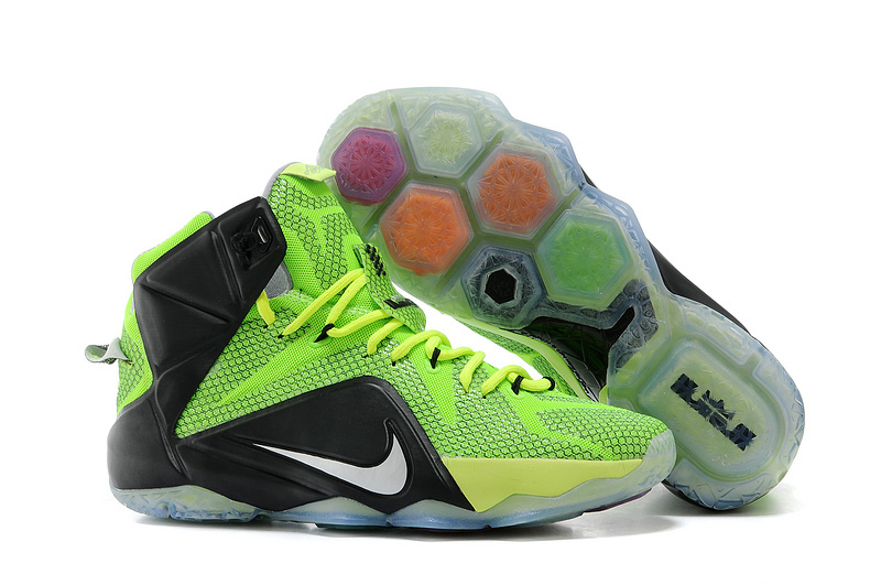 Wholesale Cheap Nike LeBron 12 Neon Green Black-Silver For Sale - www.wholesaleflyknit.com