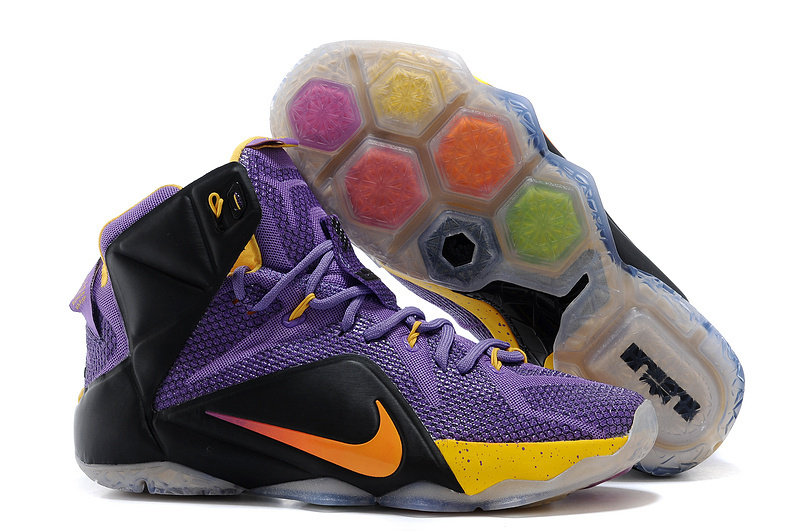 Wholesale Cheap Nike LeBron 12 Purple Black-Yellow For Sale - www.wholesaleflyknit.com
