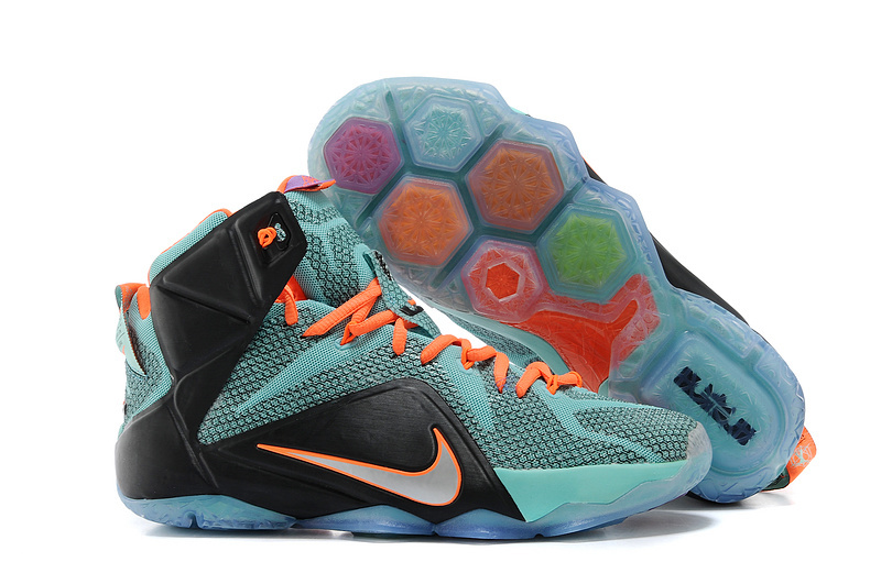 Wholesale Cheap Nike LeBron 12 Teal Orange-Black For Sale - www.wholesaleflyknit.com